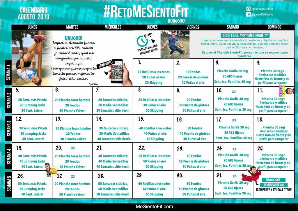 Calendario Fit.Calendario Agosto 2019 Retomesientofit Me Siento Fit
