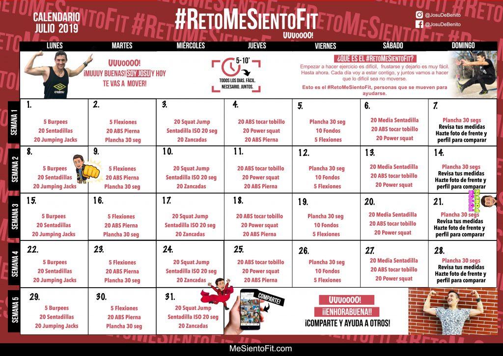 Calendario Fit.Calendario Julio 2019 Retomesientofit Me Siento Fit