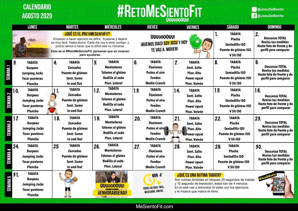 agosto-2020-RETO-mesientofit 2020 calendario ejercicios