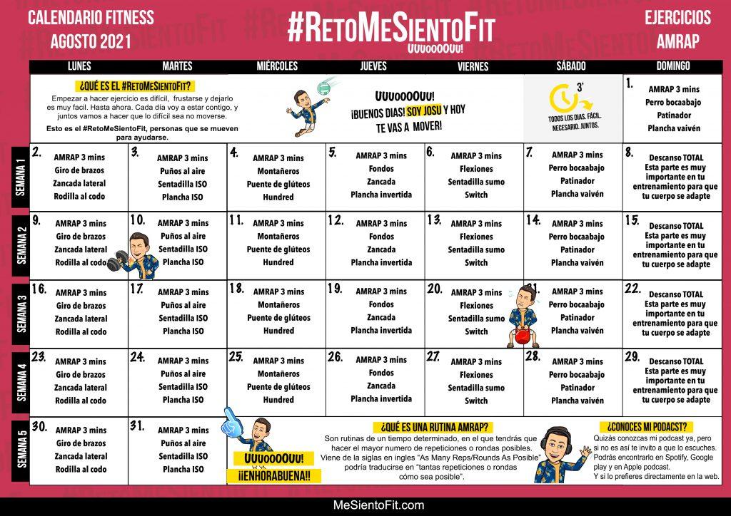 Calendario Fitness Agosto 2021